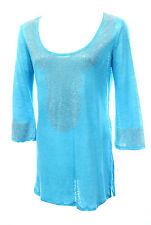 INC International Concepts Silver Rhinestone Studded Turquoise Fine Knit Top Siz