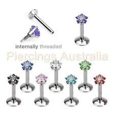 16G Internally Threaded Gem Star Labret Lip Bar Ring Monroe Piercing Jewellery