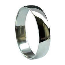 6mm 18ct White Gold D Shape Wedding Rings 750 Grade1 UK HM 6.3g Light Bands