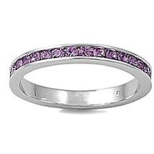 Women Sterling Silver Light Violet Purple Color Cz Eternity Ring 3Mm
