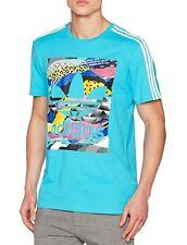 Men's New Adidas Originals T-Shirt Top - Retro Vintage Fashion - Blue