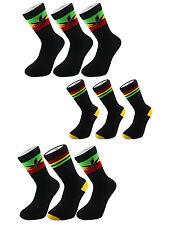 X3 Rasta Rastafarian - Stripe Lion Of Judah Leaf Black Crew Socks One Size 6-11