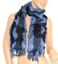 SCIARPA scaldacollo donna NERO BLU AZZURRO scarf frange écharpe шарф schal 30