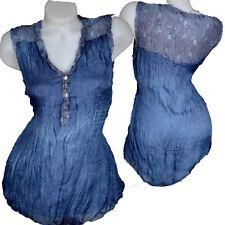 100% seda & punta blusa camisa top verano 36 38 40 42 jeans azul camisa blogueros