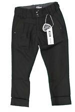 Pantalone lungo da bambina nero Datch elegante moda bottoni tasche