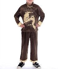 Nuevo Chino Oriental niño chico Marrón Dragón Top Pantalón pijama chboy4