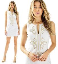 $198 Lilly Pulitzer Mila Seaside Grey Mixed Metal Soutache Shift Dress