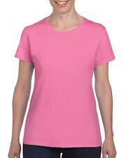 Pink Gildan Heavy Cotton Ladies T Shirt Top Womens Girls Plain Choose Quantity