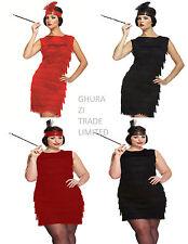 Ladies Flapper Black Red 20s 30s Gatsby Fancy Dress Costume Sandard & Plus Size