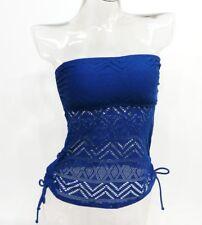 SO Navy Bandeau Crochet Tankini Top Swimwear Juniors' Ladies XS,S,M,L,XL #1782