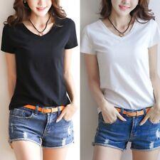 Womens Milk Fiber Basic T-Shirt Summer Sleeve Short V-Neck Tops Solid Color Slim