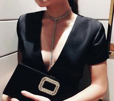 Largo Collar y Diamantes de Imitación Oro Plata Cadena Elegante Mujer Fiesta R