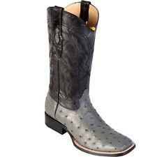 Los Altos Genuine GRAY Ostrich Square Toe Western Cowboy Boot EE