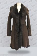 Mesdames 3/4 Marron Femmes Véritable Toscana Veste en cuir de peau de mouton trench coat