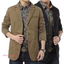 Men's Casual Cotton Suit Blazer Button Coats Jackets Formal Outerwear Tops M-4XL