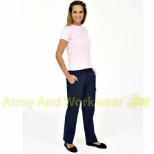 Ladies Womens Cargo Combat Work Trousers Action Pants Part Elastic Waistband