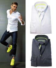 Venti SNEAKERSHIRT Slim Fit Langarmhemd weiss schwarz 4-Wege Stretch M bis 3XL