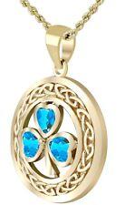 Solid 14k Yellow Gold Irish Shamrock Clover Genuine Blue Topaz Pendant Necklace
