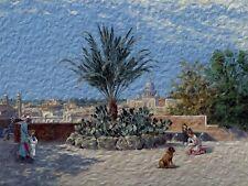 GARDEN by A. Brandeis oil panting palm Tile Mural Backsplash Art Marble Ceramic