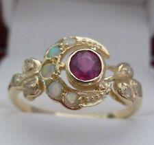 9ct Solid Gold Vintage Insp Ruby, Opal & Diamond Womens Moon Ring R25 Custom