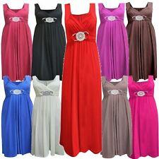 Nouveaux Womens Plus Taille Attache Dos Longue De Soirée Buckle Maxi 8-26