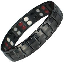 Bracelet magnétique en titane noir avec des aimants