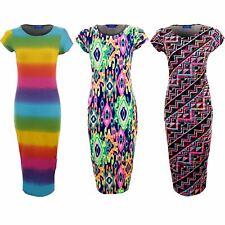 Ladies Multi Colour Zig Zag Diamond Stripe Cap Sleeve Midi Bodycon Dress