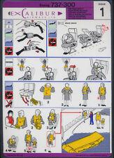 Excalibur Airways Boeing B737-300 issue 1 safety card vg condition sc222