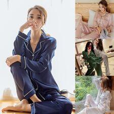4b14993d76 Frauen Mädchen Lady Silk Satin Pyjama Set Damen Langarm Button-Down  Nachtwäsche