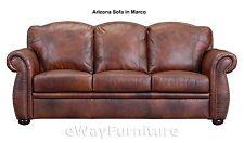Arizona Brown Top Grain Leather Sofa Hardwood Frame Top Quality Online Furniture