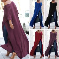 ZANZEA Elegant Ladies Off Shoulder Blouse Long Shirt Tops High Split Crop Tops