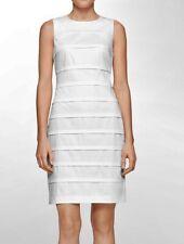 CALVIN KLEIN Tonal Striped Cotton Stretch White S/L Sheath Dress NEW Womens 12