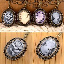 Retro Rose Flower Necklace Steampunk Vintage Pocket Watch Quartz Pendant Gift