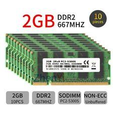 20GB 10x 2GB 1GB DDR2 PC2-5300S 667MHz 2Rx8 CL5 200Pin SODIMM Laptop Memory LOT