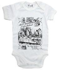 "Alice Wonderland Baby Bodysuit ""Mad Hatter's Tea Party"" Baby grow Vest Clothes"