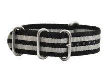 Uhrenarmbänder Uhrband-Militär Nylon Zulu  Band  schwarz mit grauen Streif  20mm