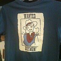 NWT! Women's WESTERN CowGirl WANTED Boymom T-shirt M L XXL Indigo Blue