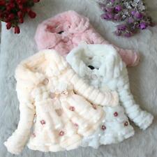 NUOVA morbida invernali in pelliccia sintetica per neonate Cappotto Giacca Autunno Casual Bambini Vestiti UK