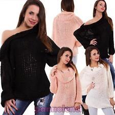 Maglione donna pullover rete traforato collo alto ampio lungo nuovo SW515