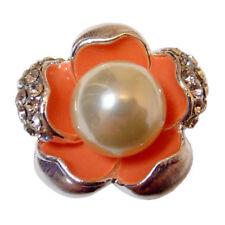 bague plaqué or blanc cristal swarovski éléments Fleur orange perle nacrée