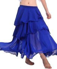 ROYAL BLUE | Women Lady Hot Spiral Skirt 3 Layer Circle Belly Dance Costume Boho