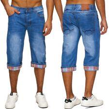 Hommes Denim Bermuda shorts jeans short long Jeans washed pantalon slim fit 3/4
