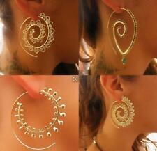 HOT Boho Spiral Brass Gypsy Earrings Tribal Ethnic Festival Jewelry Indian Hoops