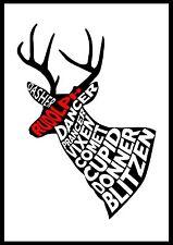 Dasher Dancer Prancer Christmas Wallart Xmas Rudolph Reindeer gift Poster Print