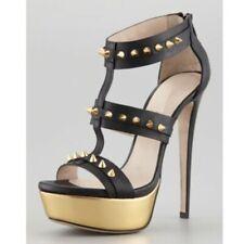 Womens Fashion Punk Spike Studs Zipper Platform Stiletto Heel Sandals Shoes GEMQ