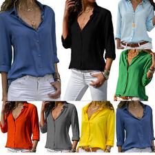 Damen Chiffon Bluse Langarm Business T-Shirt Top Freitzeit Oberteil Hemd Gr34-44