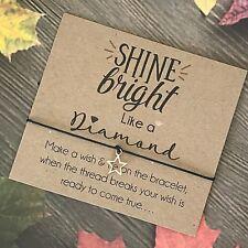 Wish Bracelet Rose Gold Charm Card Birthday Best Friend Mum Sister Gift Y58