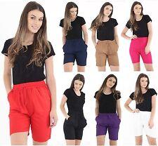 DONNA CASUAL Extra lunghezza pantaloncini di lino estate vacanze