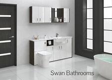 Mali wengé / blanc brillant meubles de salle de bain monté avec des unités murales 1700mm