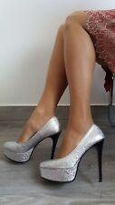 Made in Italy Shoes Decolletè Sera Gala Alte 14 cm e Plateau Glitterate Argento